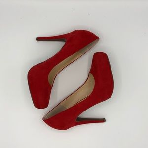 Jessica Simpson Red Micro Suede Heels
